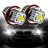 Apmatauto 2Pcs White Angel Eyes Halo Ring Marker Light Led Bulb Headlight 80W 6000K Replacement for BMW 1 5 6 7 Series X3 X5 (Fit E39 E53 E60 E63 E64 E65 E66 E83 E87) (White)