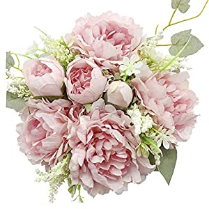 vintage artificial peonies silk peony flowers bouquet home wedding decoration, 1 bouquet (pink)silk flower arrangements