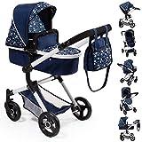 Bayer Design 18481Aa, Cochecito de Muñecas, Carro Neo Vario, Combolsa, Convertible, Plegable, Ajustable, Azul Comcorazona, Color