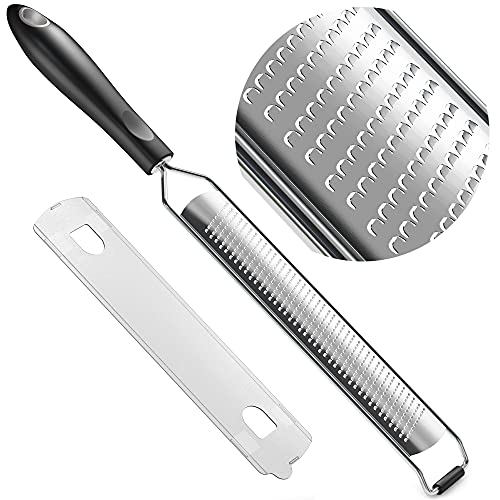 GRACE & GRIND Lemon Zester Grater for Kitchen Accessories - Premium Stainless Steel Grater for Parmesan Cheese, Citrus, Garlic, Carrot, Vegetables and Fruits with Non Slip Handle and Cover