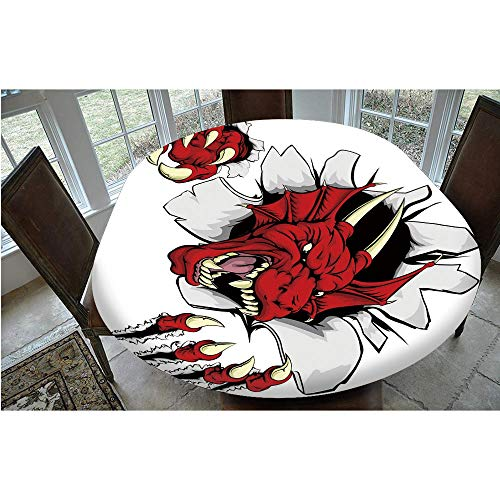 Elastic Edged Polyester Fitted Tablecloth,Retro Pop Art Comic Strips Stylized Wild Creature Danger Caricature Image Tablecloth,Fits Oval/Olbong Tables 48x68',for Dining Room and Party Ruby Light Grey