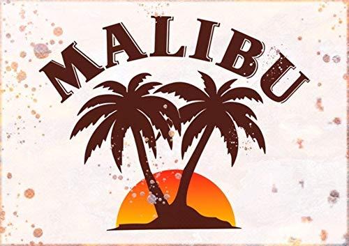 Cartel de metal con diseño de ron Malibu de estilo vintage, color resistente a la decoloración