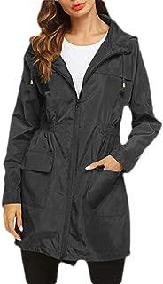 Womens Fashion Lightweight Hooded Waterproof Outdoor Rain Jacket
