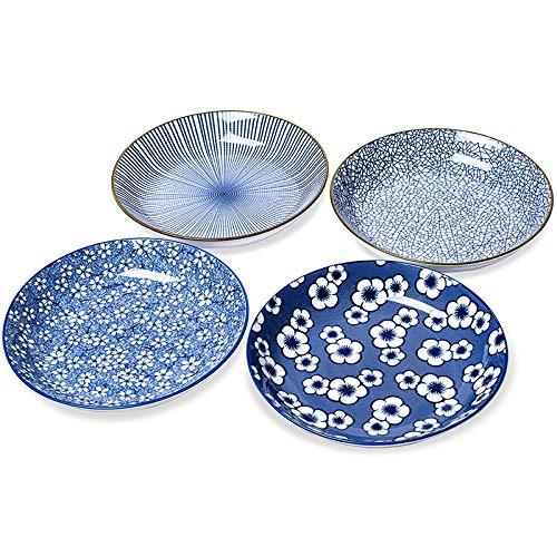 "Kylimate 8"" Shallow Bowls For Pasta, Salad, Cereal,Dessert, 24 Ounce, Ceramic Serving Dishes, Porcelain Dinnerware, Set Of 4."