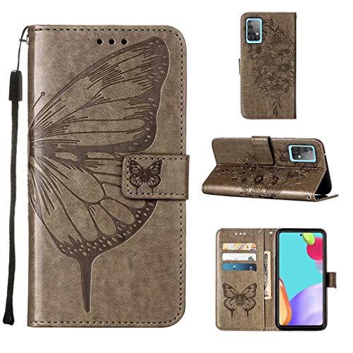 WJMWF Hoesje voor Samsung Galaxy A52 5G Vlinder Vliegen In Reliëf Gemaakt Patroon PU Leder Etui Hoezen [Magnetische…