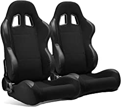 ModifyStreet 1 Pair Universal Black Pineapple Fabric/PVC Leather Racing Bucket Seats