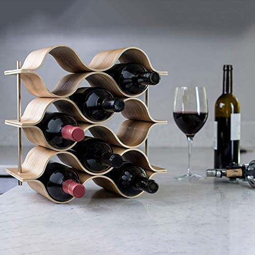 PYERJHGMBJN 9 Bottle Wooden Wave Wine Rack Freestanding For Table, Bar Or Counter Modern Minimalist Design Sweet and Dry Wines For Small Hom 34 * 16.5 * 33.5Cm