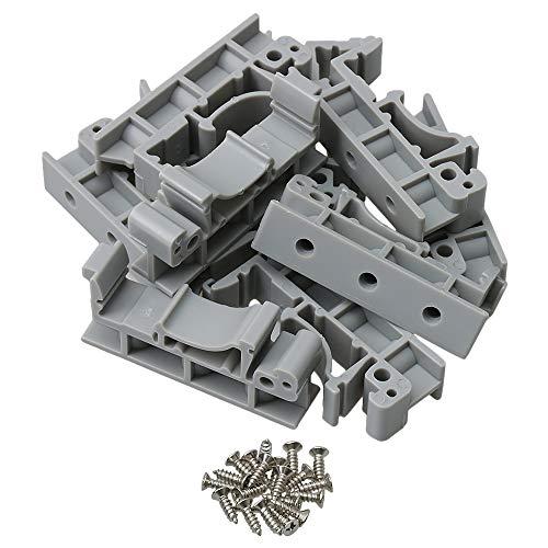 BQLZR 4,2 x 1 x 1,8 cm grauer Kunststoff Leiterplatten-Montage-Adapter Leiterplatten-Montage-Halterung Halter Träger für DIN 35 Montageschiene 10 Stück
