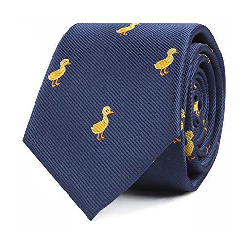 Krawatten mit Tiermotiv, gewebt, eng anliegend, Geschenk für Herren, Arbeitskrawatten für Ihn, Geburtstagsgeschenk für Männer - Gelb - Regulär