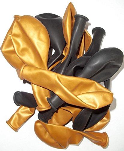 50-schwarz-gold-metallic-Luft-Ballons glänzend-metall-Feier-Deco-Geburtstag-Fete-Helium-geeignet EU Ware vom Sachsen Versand