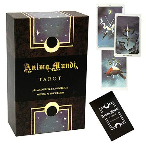 78 Stück Englisch Anima Mundi Tarot-Karten, Vergoldete Tarot Deck Solitaire Brettspiele Divination Familie Party-Spiel (Mit Reiseführer)