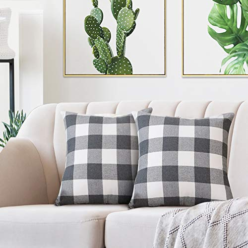 Volcanics Buffalo Check Plaid Throw Pillow Covers Set of 2 Farmhouse Decorative Square Pillow Cover Case Cushion Pillowcase 18x18 Inches for Home Decor Sofa Bedroom Car, Grey and White