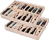 Under Bed Shoe Storage Organizer (2 Pack Fits 32 Pairs) Underbed Shoes Closet Storage Solution with Sturdy and Breathable Materials for Sneakers,Clothes, Great Space Saver for Your Closet (Beige)