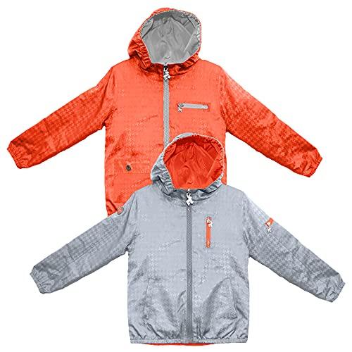 Frenchie Mini Couture 100% Polyester Nylon Boys & Girls Rain Jacket, Hooded Kids Raincoats, Silver/Orange, 6T