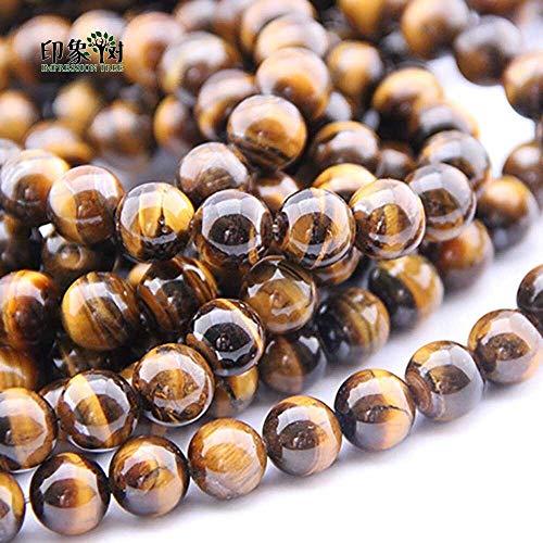GSZP Perlas de cristal esmaltadas de 6/8/10/12/14 mm naturales de ojo de tigre amarillo cuentas redondas sueltas de piedra para hacer collares y pulseras de bricolaje (tamaño: 10 mm 10 piezas)