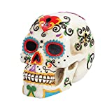 PTC 5.5 Inch Multicolor Patterned Day of The Dead Skull Statue Figurine