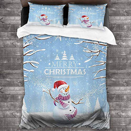 BCVHGD Light-Weight Christmas,Cute Snowman in a Snowy Winter Day with Xmas Hat Frosty Noel Kids Nursery Theme,White Blue 90x90 inch Bed Sheet + Pillowcase