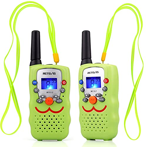 Retevis RT32 Walkie Talkie Niños, 8 Canales Linterna Cordón VOX, Regalo de Sonrisa Recargable Largo Alcance para Fiesta de Cumpleaños, Juego de Familia Policía, Caza al Aire Libre (1 Par, Verde)