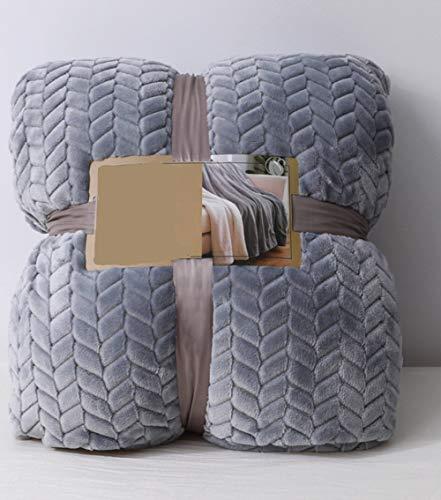 Couvertures Matériau en Fibre De Polyester Sélectionné, Double Épaisseur, Motif Jacquard, Aucune Déformation Ni Atténuation, Gris,150 * 200Cm(1.4Kg)