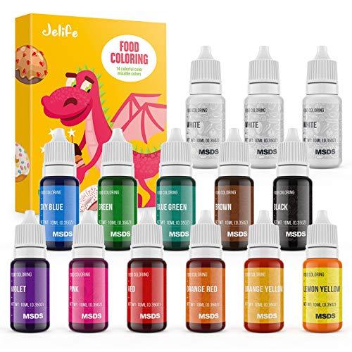 Jelife Colorant Alimentaire Liquide 14 Couleurs ×10ml Pigment Liquide Concentré pour Gâteaux Biscuits