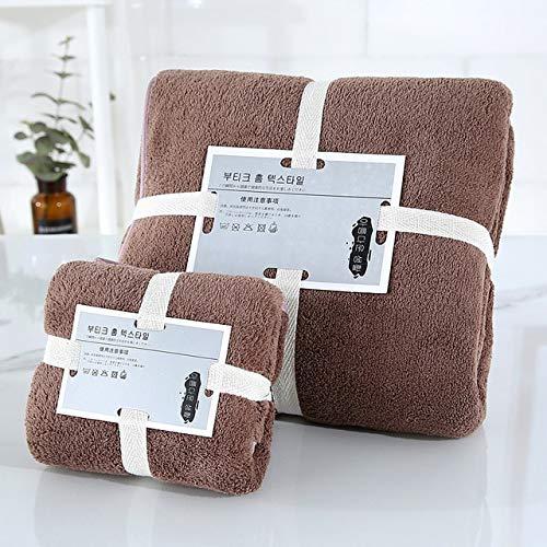 2 unids / set juego de toallas de baño de Color sólido, toalla de baño gruesa grande, toallas de baño para la cara, toallas de ducha para el hogar para adultos y niños-coffee B-70x140cm and 35x75cm