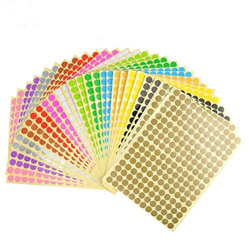 Klebepunkte bunt, Etiketten Markierungspunkte, 28 Blätter 10mm Sticker Punkte, Bunte Klebepunkte 14 Farben, runde Punktaufkleber Set