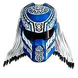 Casco de Motocicleta Predator Carbon Fiber Full-Face Iron Warrior Casco para Hombre, Certificación de Seguridad Dot Negro Rojo Azul,Azul,L