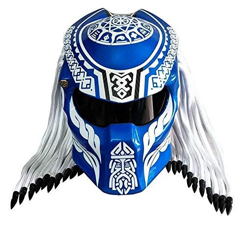 Motorradhelm Predator Carbon Full-Face Iron Warrior Herrenhelm, DOT-Sicherheitszertifizierung Schwarz Rot Blau,Blau,XXL