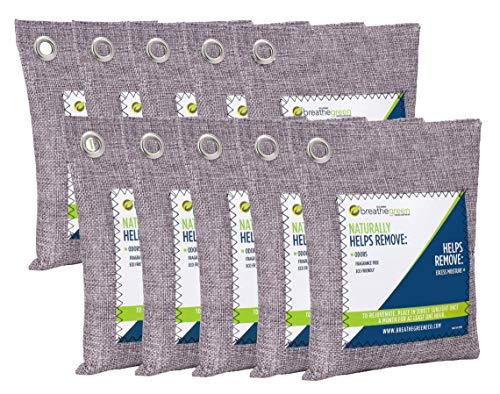 Breathe Green Charcoal Odor Eliminator Bags (10-Pack) | Activated Bamboo Charcoal Deodorizer | Natural Freshener Removes Odor &Moisture | Odor Eliminator for Car, Closet, Bathroom, Gym Bag, Shoes