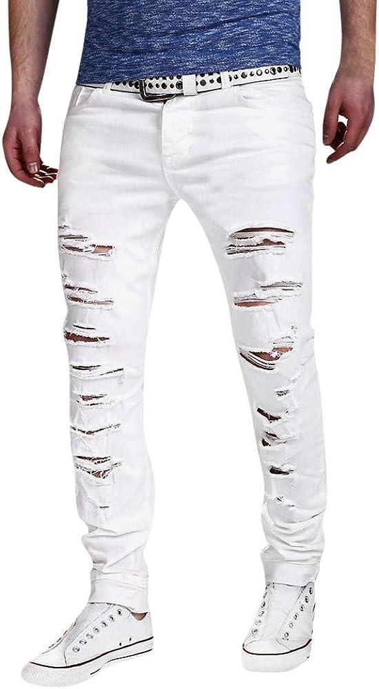 AKIMPE Men's Slim Fit Ripped Skinny Biker Jeans Destroyed Denim Pants