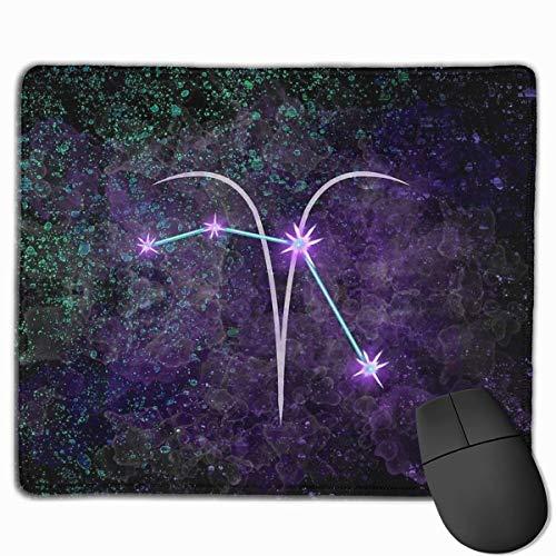 Aries - Alfombrilla de ratón de goma antideslizante para videojuegos con diseño de constelación del zodiaco para ordenadores, ordenadores de sobremesa, portátiles de 9,8 x 11,8 pulgadas