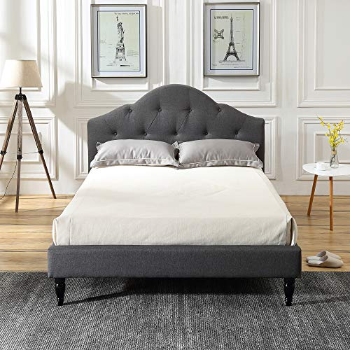 Classic Brands Winterhaven Upholstered Platform Bed | Headboard and Metal Frame with Wood Slat Support, Queen, Grey