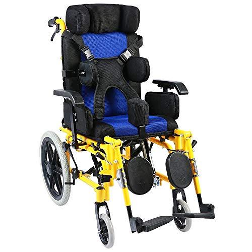 Sillas de ruedas, transpirable cojín del asiento, completa plegables, plegable adulto del niño de la parálisis cerebral Rehabilitación de la carretilla, Asiento ajustable Apoyabrazos Almohada Cinturón