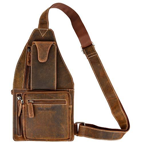 VEN TOMY borsttas dagrugzak riemtas borsttas schoudertas 1 drager rugzak echt leer vintage bruin