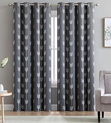 "HLC.ME Arrow Printed Blackout Room Darkening Thermal Grommet Window Curtain Drape Panels for Bedroom - Set of 2 - Grey - 84"" inch Long"