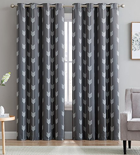 "HLC.ME Arrow Printed Blackout Room Darkening Thermal Grommet Window Curtain Drape Panels for Bedroom - Set of 2 - Grey - 84"" inch Long"