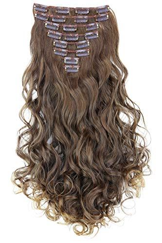 PRETTYSHOP XXL 8 pièces SET tête entière Clipser dans les extensions Extension de cheveux postiche résistant à la chaleur ondulé 60 cm Ombré marron # 6T27 CES18-1
