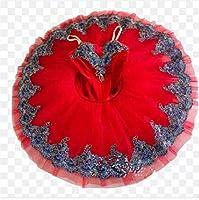 プロフェッショナルバレエチュチュ子供キッズ女の子大人パンケーキチュチュダンスバレエ衣装バレリーナバレエドレスの女の子,赤,160CM