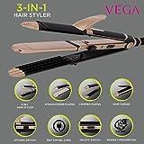 VEGA 3 in 1 Hair Styler - Straightener, Curler and Crimper (VHSCC-01), Black
