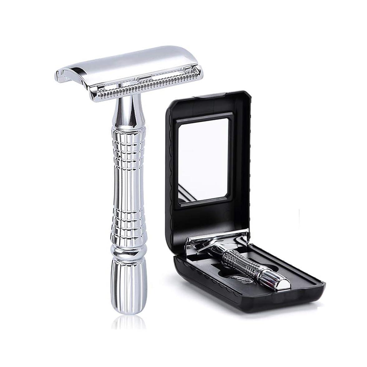 花輪価格維持する二重端優良かみそりの手動ホールダーのステンレス鋼 + 10 の刃,Silver