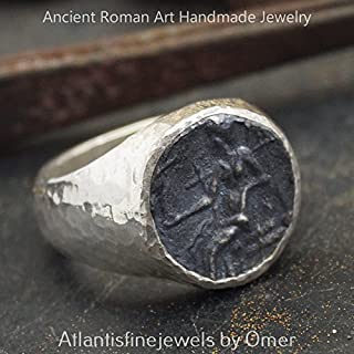 Bold Collection By Omer Coin Men's / Unisex Ring Hammered Handmade 925 Sterling Silver