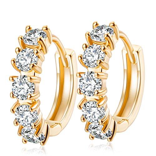 YAZILIND 18 k chapado en oro joyer¨ªa exquisita peque?a bola de oro aretes joyer¨ªa de la boda para las mujeres ni?as