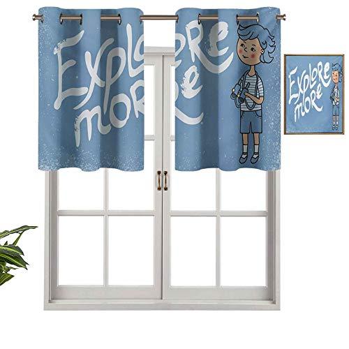 Hiiiman Cenefa de diseño de moda con aislamiento térmico para ventana con prismáticos sobre fondo de estilo grunge, juego de 1, 137 x 45 cm para habitación de los niños