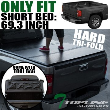 Topline Autopart Tri-Fold Hard Tonneau Cover Tool Bag 07-14 Silverado/Sierra Fleetside 5.8 Ft Bed