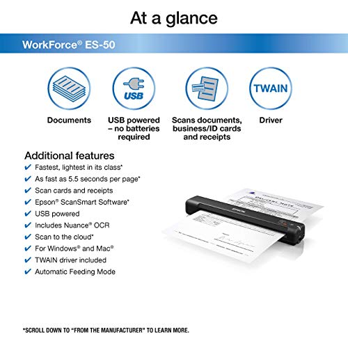 Epson Workforce ES-50 Portable Sheet-fed Document Scanner for PC and Mac (Renewed) Photo #6