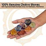 J&K Ink. Natural Chakra Stones and Healing Crystal Stones Kit Includes 7 Engraved Chakra Symbols Stones,7 Chakra Stones Heart Shaped, Energy Crystals, Reiki Supplies, Chakra Crystals, Healing Stones