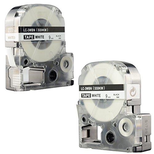 "LK-3WBN Label Tape, LaBold 2 Pack Compatible Epson LabelWorks Label Maker Tape Refill Cartridge Cassette LC-3WBN9 SS9KW LK-3WBN Black on White 3/8"" X 26.2'(9mm x 8M) Photo #7"