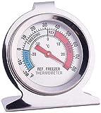 fanshiontide 1 Piezas Termómetro para Frigorífico Acero Inoxidable Termometro Frigorifico Termómetro para Congelador para Empresas Hospitalarias Familiares con Gancho para Colgar(-30 a 30 °C)