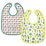 Lätzchen, Obst-/Gemüse-Muster, grün-gelb, 2 Stück, wasserfest & bequem, einfach anzubringen und zu entfernen, Produktgröße: Lieferumfang: 2 Stück