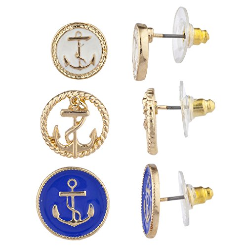 Lux Accessories Gold Tone Blue White Nautical Anchor Multi Earring Set (3pc)